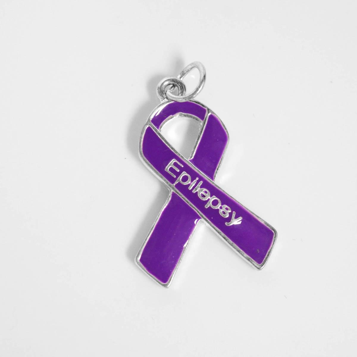 Epilepsy Purple Ribbon Retractable Charm Bracelets